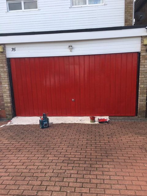 Garage Door Painted in Hatch End
